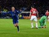 Leicester City's English striker Jamie Vardy (L) celebrates after scoring during the English Premier League football match between Leicester City and Manchester United at the King Power Stadium in Leicester, central