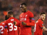 Christian Benteke of Liverpool celebrates as he scores their