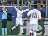 Real Madrid's Portuguese forward Cristiano Ronaldo celebrates after scoring during the UEFA Champions Le