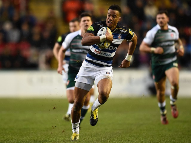 Bath fullback Anthony Watson races away to score the first try during the Aviva Premiership match between Leicester Tigers and Bath at Welford Road on November 29, 2015 in Leicester, England.