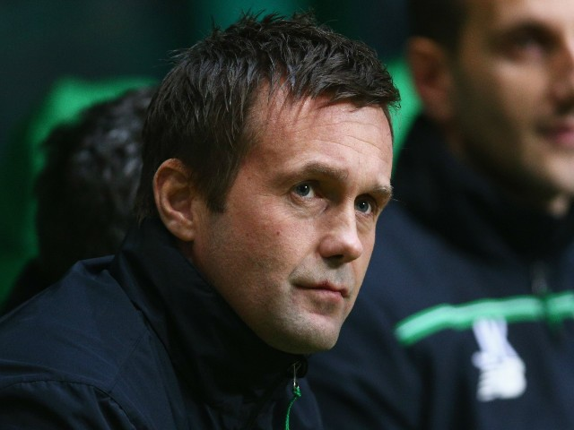 Ronny Deila manager of Celtic looks on prior to the UEFA Europa League Group A match between Celtic FC and AFC Ajax at Celtic Park on November 26, 2015 in Glasgow, United Kingdom.