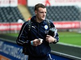 Leicester striker Jamie Vardy arrives off the bus before the Barclays Premier League match between Swansea City and Leicester City at Liberty Stadium on December 5, 2015