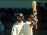 Ricky Ponting of Australia celebrates making a half century on debut during the First Test between Australia ans Sri Lanka held at the WACA December 8, 1995