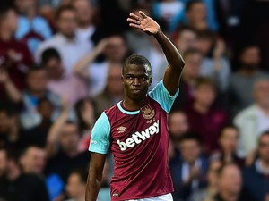 Enner Valencia of West Ham celebrates scoring his side's opening goal during the UEFA Europa League third qualifying round match between West Ham United and Astra Giurgiu at the Boleyn Ground on July 30, 2015 in London, England.