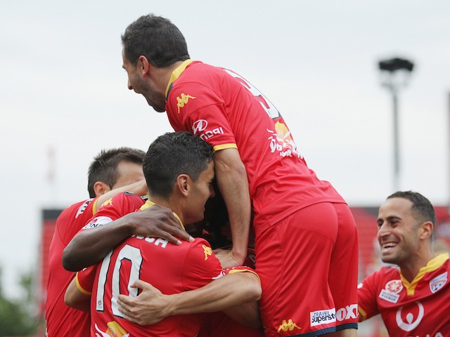 Adelaide celebrate a goal during the round nine A-League match between Adelaide United and Perth Glory at Coopers Stadium on December 6, 2015 in Adelaide, Australia.