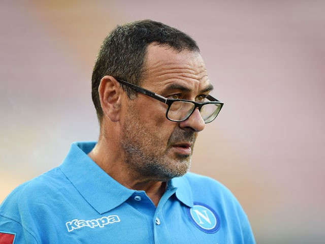 Napoli's coach Maurizio Sarri looks on during the UEFA Europa League match between Napoli and Club Brugge KV on September 17, 2015