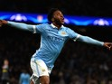 Raheem Sterling of Manchester City celebrates scoring his side's third goal during the UEFA Champions League Group D match between Manchester City and Borussia Monchengladbach at Etihad Stadium on December 8, 2015 in Manchester, United Kingdom.