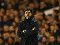 Mauricio Pochettino the manager of Spurs looks on during the UEFA Europa League Group J match between Tottenham Hotspur and AS Monaco at White Hart Lane on December 10, 2015