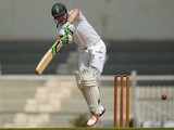 South Africa's AB de Villiers plays a shot on the final day of a two-day cricket match between an Indian Board President's XI and South Africa at The Brabourne Stadium in Mumbai on October 31, 2015