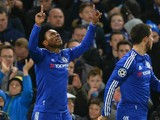 Loic Remy celebrates scoring their second goal during the UEFA Champions League Group G football match between Chelsea and Porto at Stamford Bridge in London on December 9, 2015.