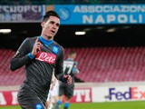 Napoli's Spanish forward Jose Maria Callejon celebrates after scoring during the UEFA Europa League football match Napoli vs Legia Warsaw at the San Paolo stadium on December 10, 2015