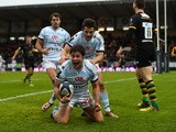 Racing player Henry Chavancy celebrates after scorinmg the first try during the European Rugby Champions Cup match between Racing Metro 92 and Northampton Saints at Stade Yves Du Manoir on December 12, 2015