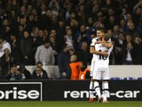 Tottenham Hotspur's Argentinian midfielder Erik Lamela (L) celebrates with Tottenham Hotspur's English defender Kieran Trippier after scoring his second goal during the UEFA Europa League group J football match between Tottenham Hotspur and Monaco at Whit