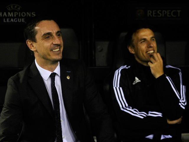 Gary Neville (L) manager of Valencia and Phil Neville assistant manager of Valencia look on from the bench prior to the UEFA Champions League Group H match between Valencia CF and Olympique Lyonnais at Estadio Mestalla on December 9, 2015 in Valencia, Spa