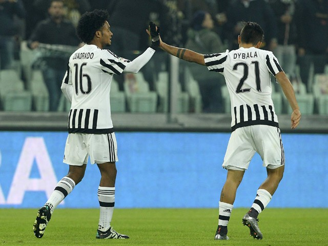 Juan Cuadrado (L) of Juventus FC celebrates his goal with his team-mate Paulo Dybala (R) during the Serie A match betweeen Juventus FC and ACF Fiorentina at Juventus Arena on December 13, 2015