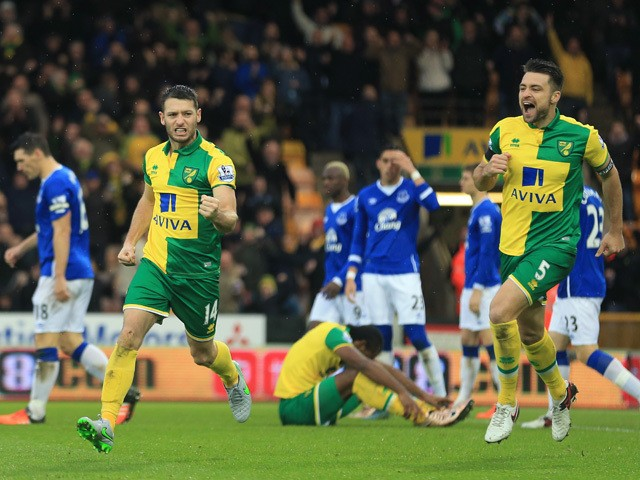 Wes Hoolahan (L) of Norwich City celebrates scoring his team's first goal with his team mate Russel Martin (R) during the Barclays Premier League match between Norwich City and Everton at Carrow Road on December 12, 2015