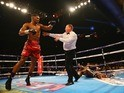 Anthony Joshua knocks out Dillian Whyte at the O2 Arena in London on December 12, 2015