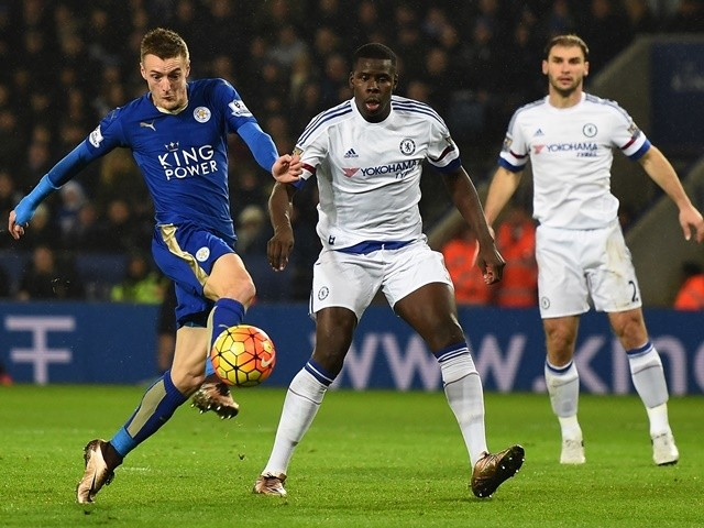 Leicester City's Jamie Vardy scores his 15th goal of the season against Chelsea on December 14, 2015.