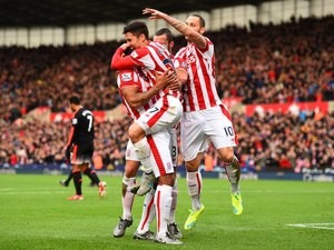 Bojan Krkic celebrates scoring Stoke's first against Manchester United on December 26, 2015