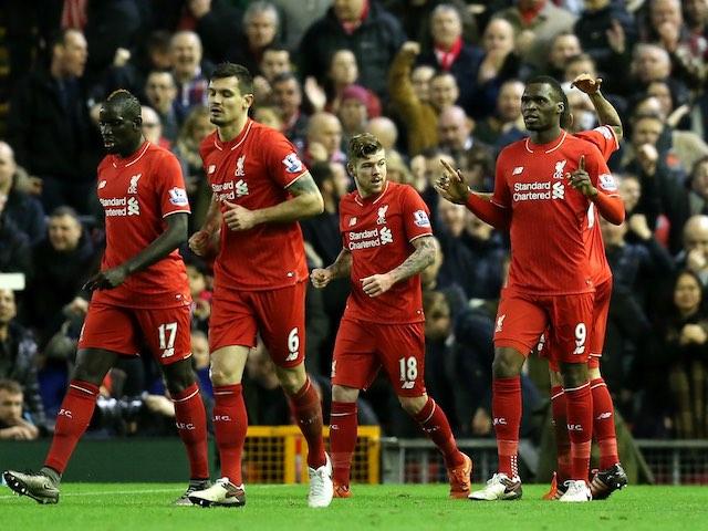 Christian Benteke celebrates scoring for Liverpool against Leicester on December 26, 2015
