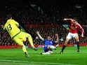 Thibaut Courtois saves a shot from Ander Herrera during the game between Manchester United and Chelsea on December 28, 2015