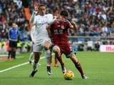 Danilo and Yuri Berchiche in action during the game between Real Madrid and Real Sociedad on December 30, 2015