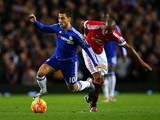 Eden Hazard and Ashley Young during the game between Manchester United and Chelsea on December 28, 2015