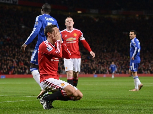 Ander Hererra reacts to a missed chance during the game between Manchester United and Chelsea on December 28, 2015