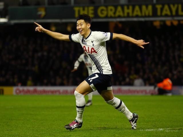 Son Heung-Min celebrates scoring the winner for Spurs against Watford on December 28, 2015