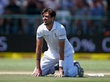 A frustrated Steven Finn gets down on all fours on day three of the second Test between South Africa and England on January 4, 2016)