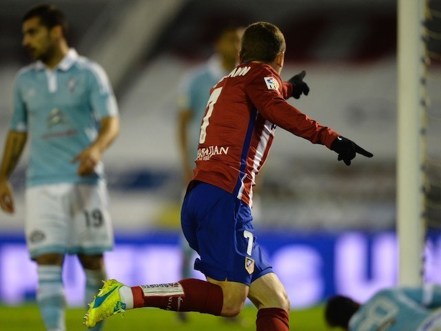 Antoine Griezmann celebrates during the game between Celta Vigo and Atletico Madrid on January 10, 2016