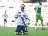 Christian Eriksen celebrates after scoring for Tottenham Hotspur against Sunderland on January 16, 2016