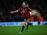 Harry Arter of Bournemouth celebrates as he scores their first goal against West Ham United at Vitality Stadium on January 12, 2016