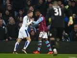 Jamie 'Rocky Balboa' Vardy gets physical with Leandro Bacuna during the game between Aston Villa and Leicester on January 16, 2016
