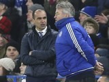 Roberto Martinez has a word with Guus Hiddink during the game between Chelsea and Everton on January 16, 2016