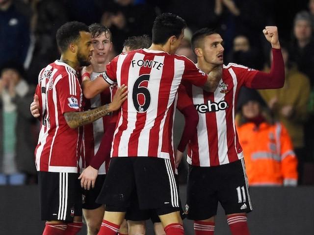 Dusan Tadic celebrates scoring during the game between Southampton and Watford on January 13, 2016