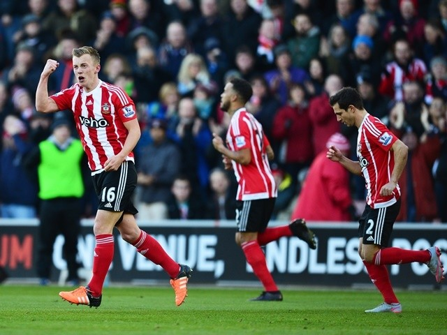 James Ward-Prowse celebrates scoring Southampton's first goal against West Bromwich Albion at St Mary's Stadium on January 16, 2016