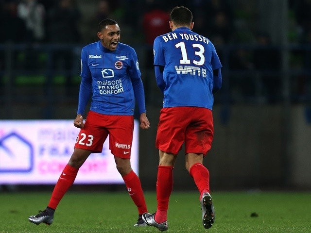 Caen's Ronny Rodelin celebrates after scoring a goal against Marseille on January 17, 2016
