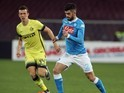 Elseid Hysaj in action during the Coppa Italia match between Napoli and Inter on January 19, 2016