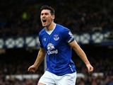 Gareth Barry celebrates scoring during the game between Everton and Swansea on January 24, 2016