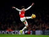 Hector 'Daniel-san' Bellerin of Arsenal controls the ball against Chelsea at Emirates Stadium on January 24, 2016