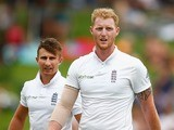James Taylor watches Ben Stokes's tight T-shirt on day one of the fourth Test between South Africa and England on January 22, 2016