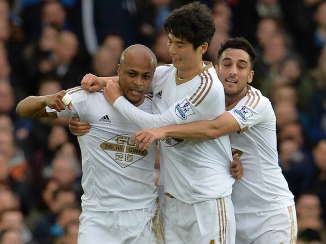 Andre Ayew celebrates scoring during the game between Everton and Swansea on January 24, 2016
