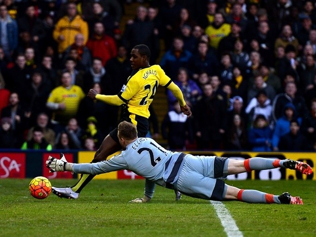 Odion Ighalo of Watford scores his team's first goal against Newcastle United on January 23, 2016