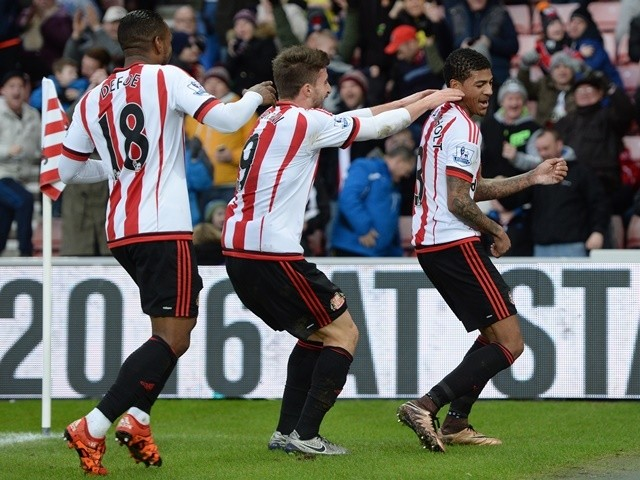 Patrick van Aanholt Sunderland celebrates scoring his team's first goal against Bournemouth at the Stadium of Light on January 23, 2016