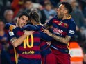 Luis Suarez, Neymar and Lionel Messi celebrate during the Copa del Rey game between Barcelona and Athletic Bilbao on January 27, 2016