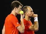 Ball-sniffing Jamie Murray and Bruno Soares compete in their men's doubles final match against Daniel Nestor and Radek Stepanek at the 2016 Australian Open on January 30, 2016