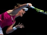 Johanna Konta serves in her quarter-final match against Zhang Shuai during day 10 of the 2016 Australian Open at Melbourne Park on January 27, 2016
