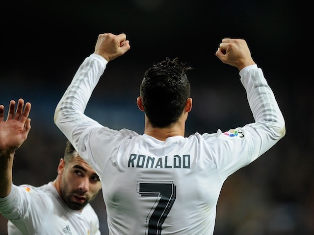 Cristiano Ronaldo celebrates scoring during the La Liga game between Real Madrid and Espanyol on January 31, 2016