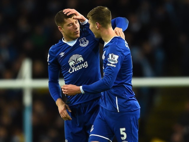 Ross Barkley celebrates with John Stones during the League Cup game between Manchester City and Everton on January 27, 2016
